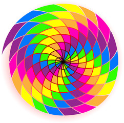 Abstract spiral with rainbow colors, vector image.