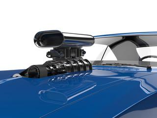 Cool blue muscle car - engine closeup shot