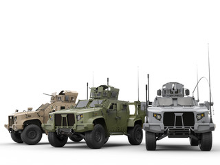Urban, jungle and desert color military tactical vehicles