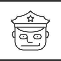 Police officer linear icon. Thin line illustration