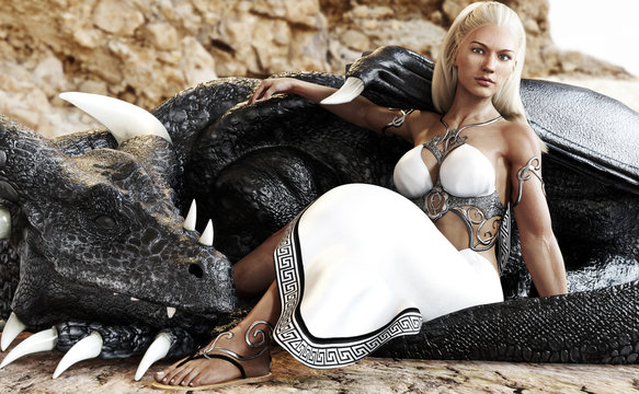 Beautiful blond female posing with her mystic dragon . 3d rendering