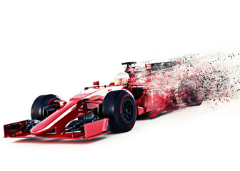 Acrylic Prints F1 Red motor sports race car front angled view speeding on a white background with speed dispersion effect. 3d rendering