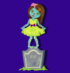 Zombie standing on gravestone. Cartoon Vector illustration in a single layer without gradients.