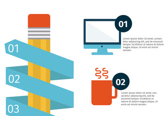 Pencil Element with Diagonally Wrapped Tabs Infographic 2