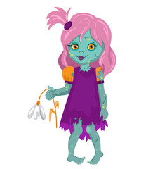 Zombie Girl holding a flower. Cartoon Vector illustration in a single layer without gradients.