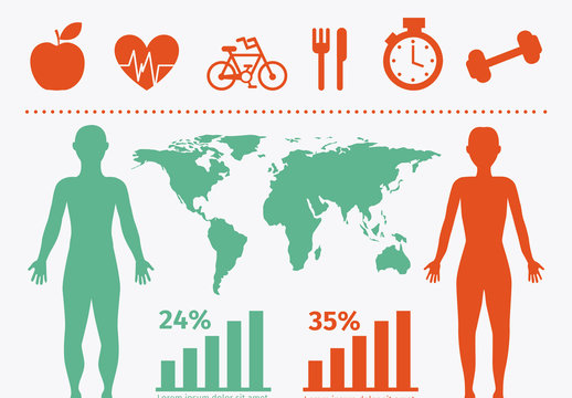 Physical Health Data by Location Infographic and Anatomical Icon Set