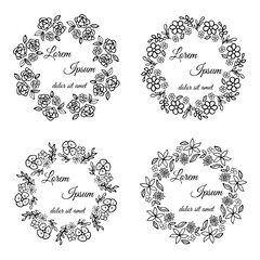 Floral round frames with your text. Vector design. Black and white version. Doodle. Hand drawn logos.