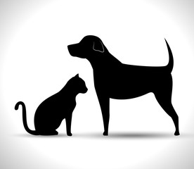silhouette dog and cat pet icon vector illustration eps 10