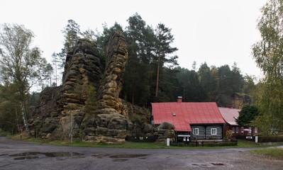 Postolci kuzel rocky formation in Jetrichovice in Ceskosaske Svycarsko national park