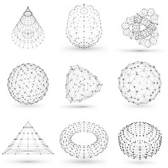 Set of wireframe polygonal elements. Abstract geometric 3D objects with connected lines and dots. Set of vector illustrations on white background with shades