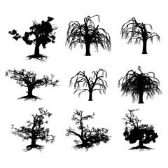 Halloween Scary Trees Silhouette Isolated On White Background  Vector Illustration set .