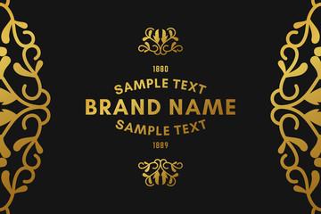 Golden luxurious logo frame. Golden on black background. Vector illustration. Decorative elements for business card, invitation, greeting card template