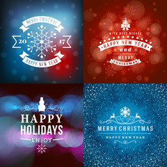 Set of Merry Christmas and Happy New Year Decorative Badges for Greetings Cards or Invitations. Vector Illustration. Abstract colorful background with snowflakes and lights