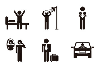 16 Black and White Daily Routine Pictogram Icons
