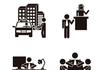 9 Black and White Workday Pictogram Icons