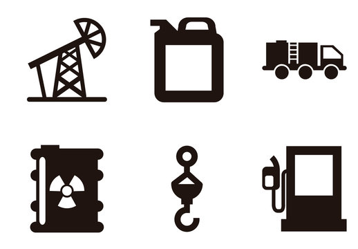 9 Black and White Fuel, Energy, and Water Icons