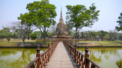 SUKHOTHAI, THAILAND, March  12, 2010 - Sukhothai historical park, the old town of Thailand, designated a UNESCO World Heritage Site