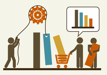 Shopping Trends Data Infographic with Pictogram People Element