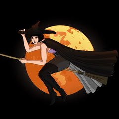 Halloween vector card.. Witch flying on a broom with moon background.