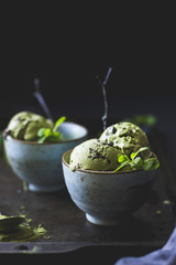 Matcha mint chocolate chip ice cream