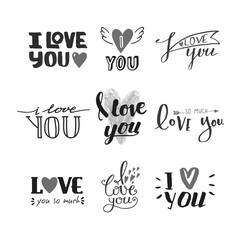 I love You vector text