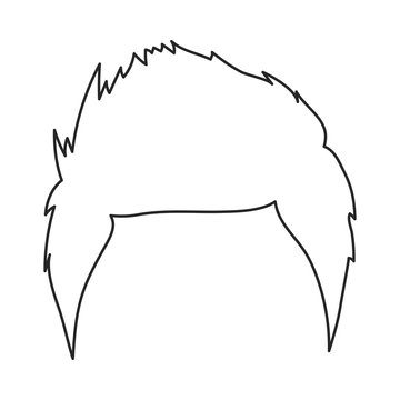 Man's hairstyle icon in outline style isolated on white background. Beard symbol stock vector illustration.