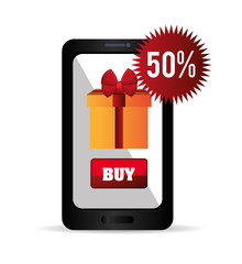 smartphone cyber monday buy gift discount vector ilustration eps 10
