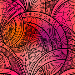 Hand drawn floral pattern. Repeating texture boho style. Colorful vector seamless background with linear botanical abstract illustration.