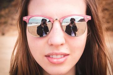 Pretty Girl With Sunglasses Near Beach in California