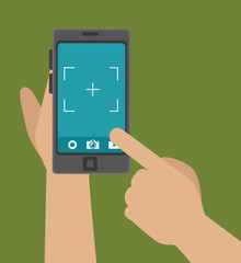 hand hold phone capture photo design, vector illustration graphic