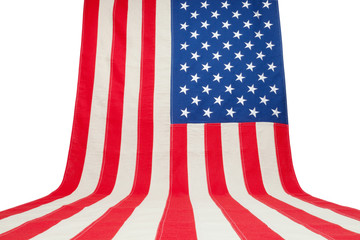 USA flag hanging in vertical position