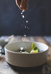 Ingredients for Wasabi Caesar Salad (gluten-free). Sprinkling pa