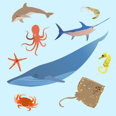 Cute ocean animals simple creatures. Octopus, shark sea cartoon fish. Vector
