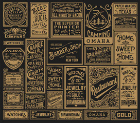 Mega pack of old advertisement designs and labels - Vector illus