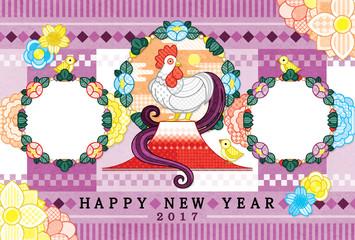 2017年酉年完成年賀状テンプレート「鶏親子と写真フレーム 」HAPPYNEWYEAR