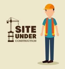 site under construction man work uniform vector illustration eps 10