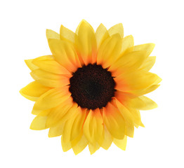 Artificial sunflowers isolated on white background.
