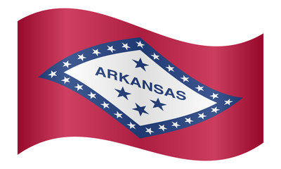 Flag of Arkansas waving on white background