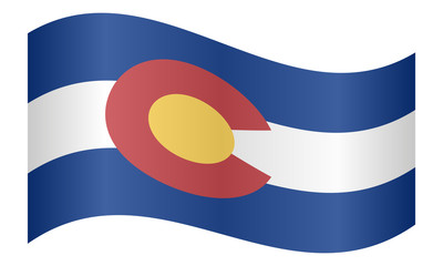 Flag of Colorado waving on white background