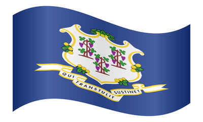 Flag of Connecticut waving on white background