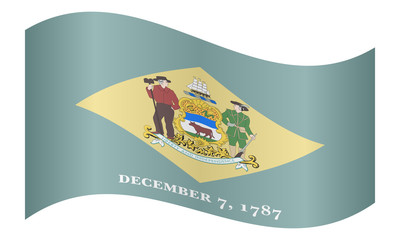 Flag of Delaware waving on white background