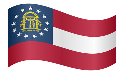 Flag of Georgia state waving on white background