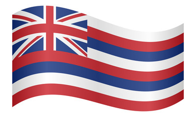 Flag of Hawaii waving on white background