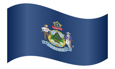 Flag of Maine waving on white background