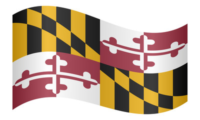 Flag of Maryland waving on white background