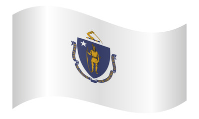 Flag of Massachusetts waving on white background