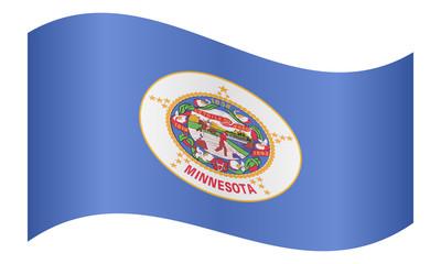 Flag of Minnesota waving on white background