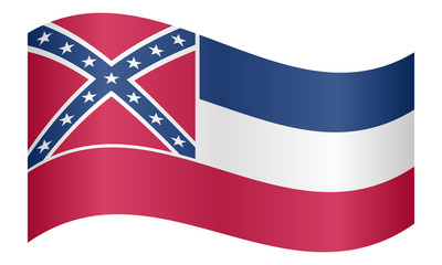 Flag of Mississippi waving on white background