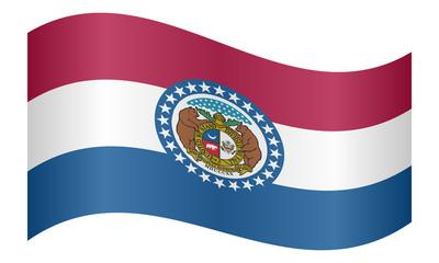 Flag of Missouri waving on white background