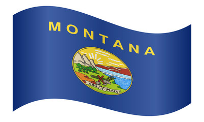 Flag of Montana waving on white background